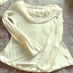 Free People Cream/Off-White Cowl Neck Top